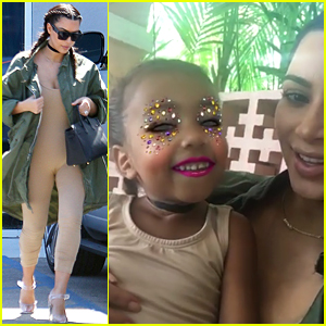 Kim Kardashian Uses Snapchat's Makeup Filter with North West