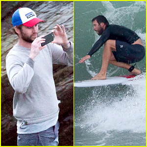 Liam Hemsworth Snaps Pics of Brother Chris Catching Waves