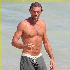 Vincent Cassel Goes Shirtless on Beach in Brazil