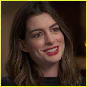Anne Hathaway flashes a smile during an interview with Good Morning ...