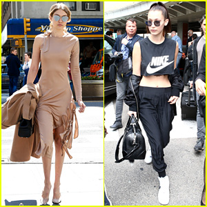 Gigi Hadid Wears a Fierce Dress in NYC While Bella Flies to France