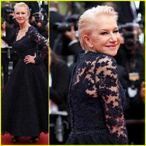 Helen Mirren Twirls in Lace at 'Unknown Girl' Cannes Premiere
