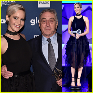 Jennifer Lawrence Presents Award to Robert De Niro at GLAAD Media Awards 2016