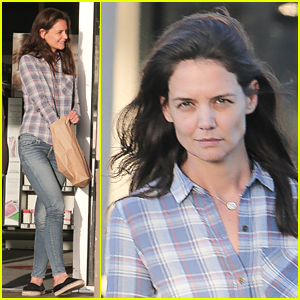 Katie Holmes Is Pretty in Plaid While Running Errands