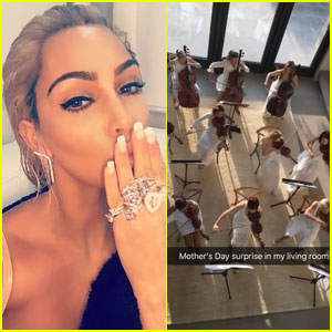 Kim Kardashian Wakes Up to String Orchestra in Her House for Mother's Day! (Video)