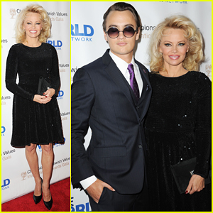 Pamela Anderson Brings Son Brandon As Date At Champions Of Jewish Values Gala!