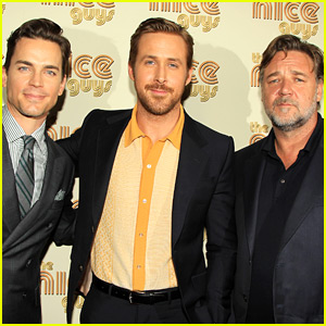 Ryan Gosling, Matt Bomer, & Russell Crowe Suit Up for 'The Nice Guys' NYC Screening