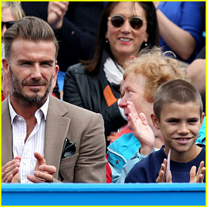 David Beckham Takes In a Tennis Match with Son Romeo!