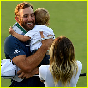 Dustin Johnson Celebrates US Open Win with Fiancee Paulina Gretzky & Son Tatum!