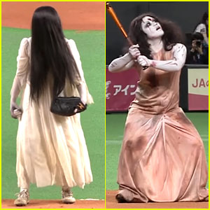 'The Ring' Girl Throws First Pitch to 'The Grudge' Villain (Video)