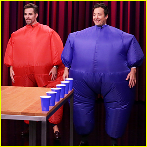 Chris Pine Plays Flip Cup With Jimmy Fallon In Inflatable Fat Suits! (Video)