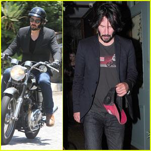 Keanu Reeves Rides His Motorcycle Around LA