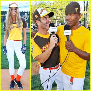Nina Agdal & Jamie Foxx Hit The Field At All-Star Legends Celebrity Softball Game 2016!