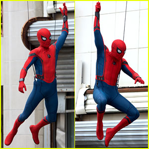 Spider-Man Swings Into Action on 'Homecoming' Set!