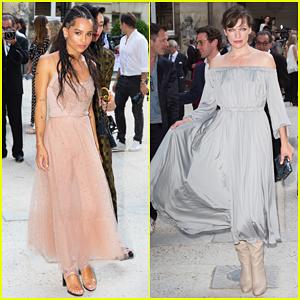 Zoe Kravitz & Milla Jovovich Hit Up Valentino Fashion Show In Style