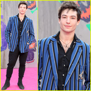 Ezra Miller Brings The Flash to the 'Suicide Squad' Premiere