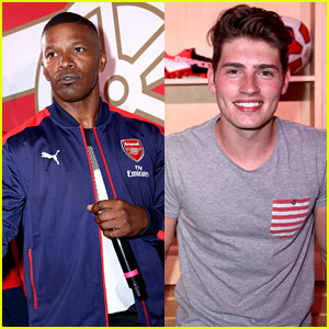 Gregg Sulkin Joins Jamie Foxx at Puma & Arsenal Soccer Reveal Event
