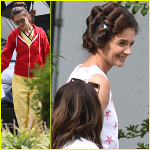 Katie Holmes Sports Curlers on the Set of 'Coup D'etat'