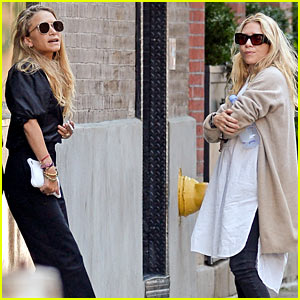 Mary-Kate & Ashley Olsen Take a Break Outside Their Office