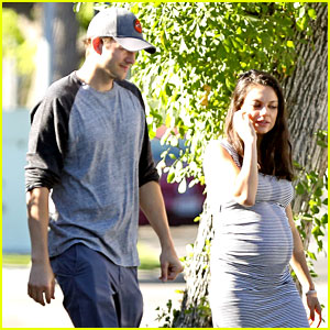 Pregnant Mila Kunis Wears Form-Fitting Dress While Out with Ashton Kutcher