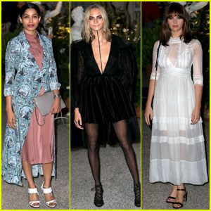 Freida Pinto & Cara Delevingne Are Burberry Beauties in London