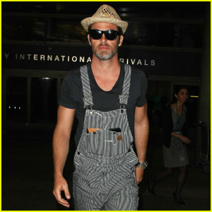 Chris Pine Wears Overalls & Straw Hat at LAX Airport