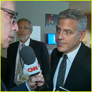 George Clooney Finds Out About Brangelina Divorce During Interview (Video)