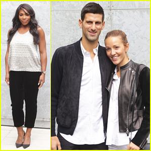Serena Williams & Novak Djokovic Hit Up Giorgio Armani's Milan Fashion Show!