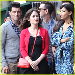 Zooey Deschanel Films 'New Girl' with Co-Stars in Los Angeles