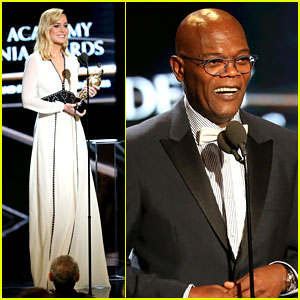 Brie Larson Presents to 'Kong' Co-Star Samuel L. Jackson at Britannia Awards