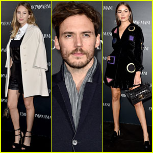 Dylan Penn & Sam Claflin Show Support at Emporio Armani Show