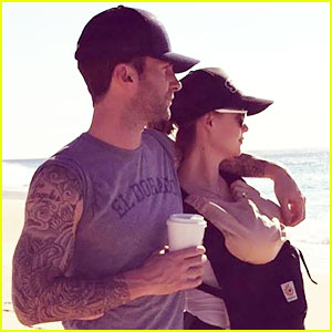 Adam Levine & Behati Prinsloo Share Family Photo with Dusty Rose!