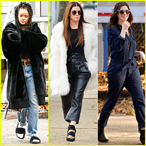 Rihanna, Sandra Bullock & Anne Hathaway Stay Warm During 'Ocean's Eight' Filming