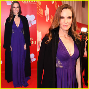 Hilary Swank Stuns in Purple at Mon Cheri Event