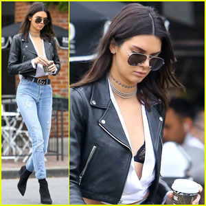 Kendall Jenner Wears Lacy Black Bra for Casual Coffee Run