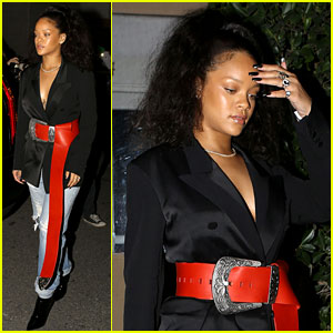 Rihanna Makes a Fashion Statement with Big Red Belt