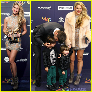Shakira Gets Support From Beau Gerard Pique & Sons At LOS40 Music Awards 2016!