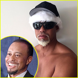 Tiger Woods Goes Shirtless with a Gray Goatee to Play Santa!
