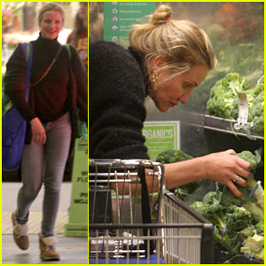 cameron diaz picks up groceries as husband benji madden appears on