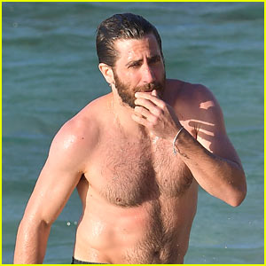 Jake Gyllenhaal Goes Shirtless for a Dip in the Ocean