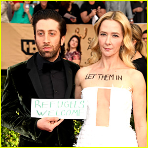 Simon Helberg & Wife Jocelyn Protest Immigration Ban at SAG Awards 2017