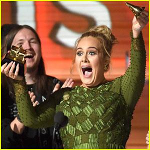 Adele Breaks Grammys Album of the Year Statue in Half! (Photos)