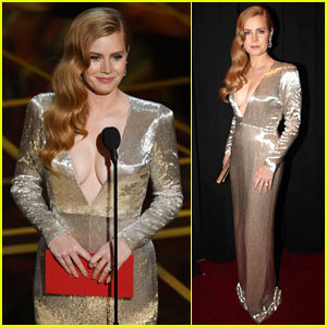 Amy Adams Shows Some Cleavage Presenting at Oscars 2017
