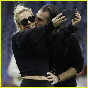 Lady Gaga & Christian Carino's PDA at the Super Bowl!