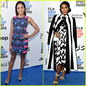96ed98cbf4 Naomie Harris and Janelle Monae stun on the blue carpet at the 2017 Film  Independent Spirit Awards held at the Santa Monica Pier on Saturday  afternoon ...