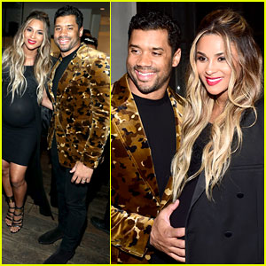 Russell Wilson Holds Pregnant Ciara's Baby Bump at Oscars Party!