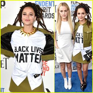 Sasha Lane Wears a 'Black Lives Matter' Shirt to the Spirit Awards 2017