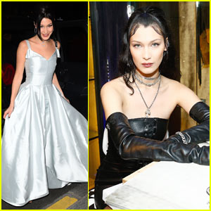 Bella Hadid Stuns in a Silver Gown at Dior Launch Party