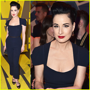 Dita Von Teese Scopes Out The Men At Hermes Runway Show!