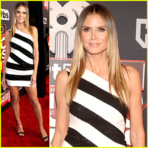 Heidi Klum Shows Off Legs In Mini Dress At iHeartRadio Music Awards 2017